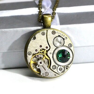 Steampunk necklace encrusted with crystals crystal pendant green olive upcycled