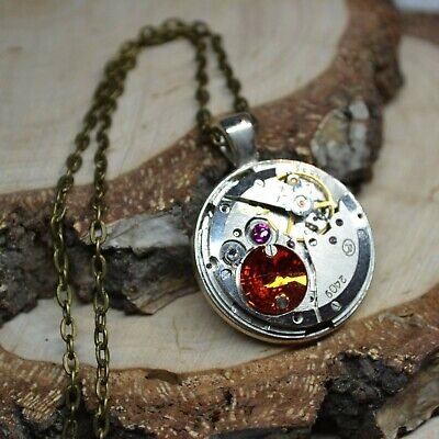 Steampunk necklace encrusted with crystals crystal pendant volcano pink upcycled