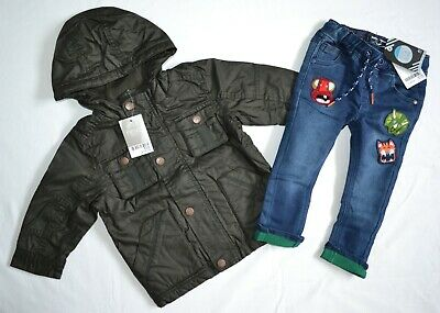 BNWT Next Baby Boys 12-18 Months Cotton Coated Jacket and Jeans Outfit