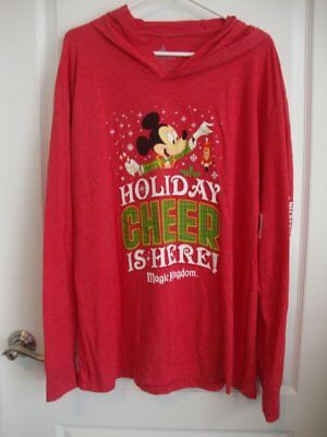 Disney Parks 2018 Mickey's Christmas Party Red Hooded T-Shirt Top XXL 2XL MVMCP