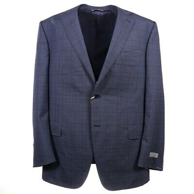NWT $2195 CANALI Slim-Fit Slate Blue Layered Check Wool Suit 48 L (Eu 58L)