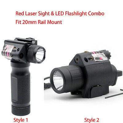 Tactical Red Laser Sight & LED Flash Light Combo Fit 20 mm Picatinny Rail Mount