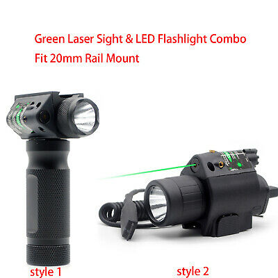 Tactical Green Laser Sight & LED Flashlight Combo Fit 20 mm Picatinny Rail Mount