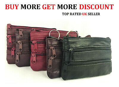 Uk women ladies men genuine leather small 4COIN card key ring wallet pouch purse