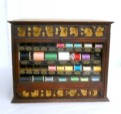 Antique 19th C. HADLEY THREAD CO. Counter Top Display Spool Cabinet Sewing
