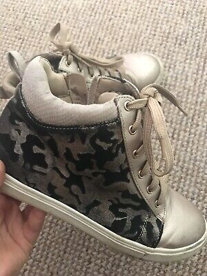 Girls River Island Kids Animal Print Pony Skin Rose Hold High Top Sneakers 2