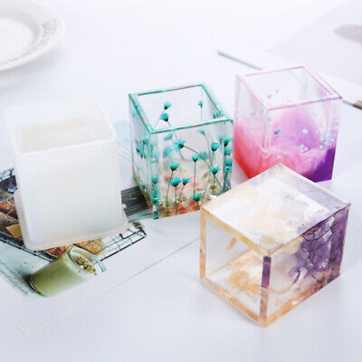 DIY Silicone Mold Pen Container Square Round Storage Holder Epoxy Resin Mold y
