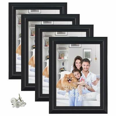 """Set of 4 5x7"""" Photo Frames for 7 x 5 inch Pictures Wall & Tabletop Display BLACK"""