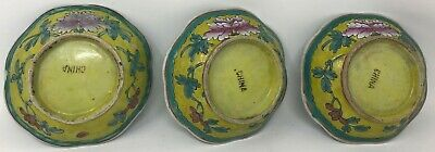 """Antique Set of (3) 1900s Chinese Bowls 6"""" Yellow Blue Flowers"""