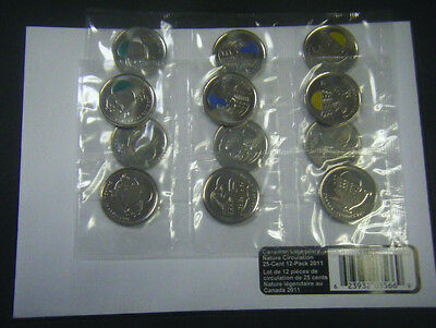 2011 Canada Legendary Nature Bison Orca Falcon 25-Cent Quarter 12-Pack coin 25c