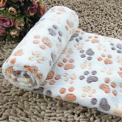 Warm Cat Dog Puppy Pet Mat Small Large Paw Print Fleece Soft Blanket Bed Cushio