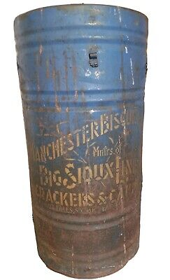 LRG Antique Vtg Manchester Big Sioux Line Metal Cake Cracker Tin Barrel Falls SD