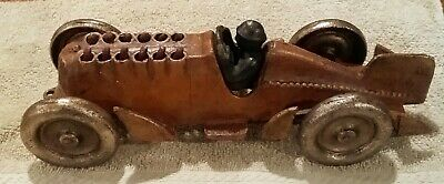 """Antique Vintage Style Cast Iron Toy Race Car w Moving Pistons """"Hubley"""""""