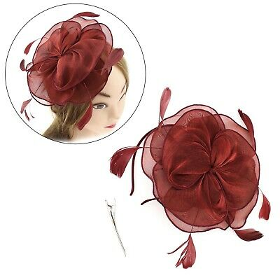 Ladies Women Fascinator Hat Beaded Feather Party Headband Wedding Wine Red