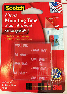 Scotch 3M 4010D Clear Mounting Tape Adhesive Permanent Double Sides 24mm x 24mm