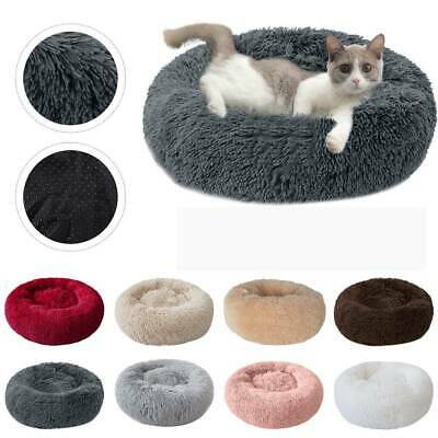 UK Faux Fur Donut Cuddler Pet Bed Dog Beds Soft Warm for Medium Small Dogs Cat