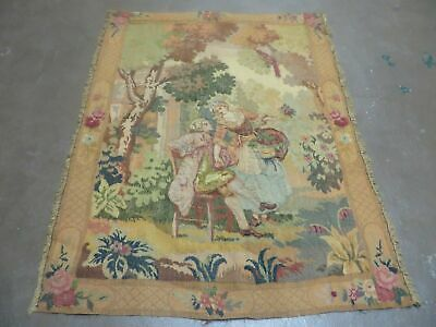 3' X 4' Antique TAPESTRY European French Hand Loomed Victorian
