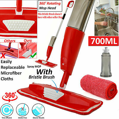 700ML Spray Floor Mop Water Floor Cleaner & Microfibre Pads & Water Bottle Inc