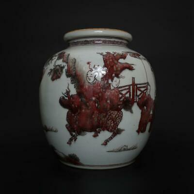 Eastern Perfect Antique Chinese Porcelain Famille-Rose Jar Pot-figures&kylin