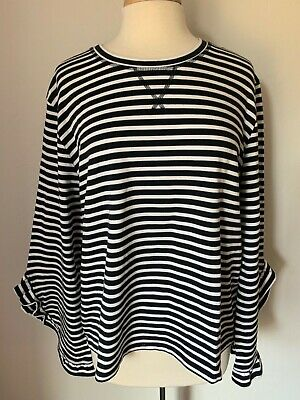 Tommy Hilfiger Women Top Plus Size XL Striped Navy White Cotton Blend NWT$69