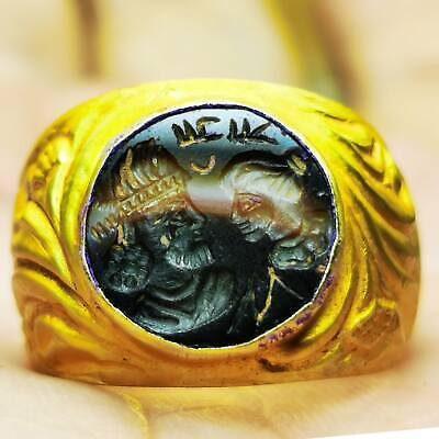 Ancient Sassanian King & Queen  22K  Gold Intaglio Ring - 2Nd Century  # 88