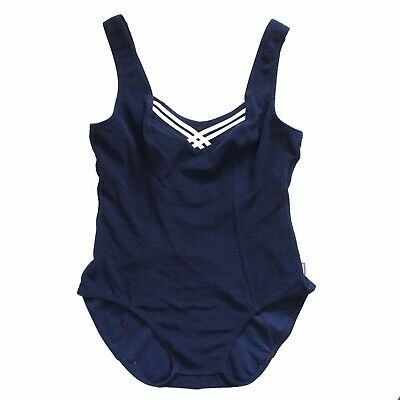 Vintage 80's Sunseeker Blue Navy White Striped One Piece Swimsuit 4 6 XS S