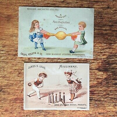 Set of 2 Antique Victorian Trade Card Advertisements 1890s Philadelphia Candy