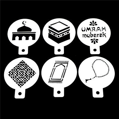 6X/Set Mosque Mubarak Ramadan Design Coffee Stencils Cake Template Tools FB
