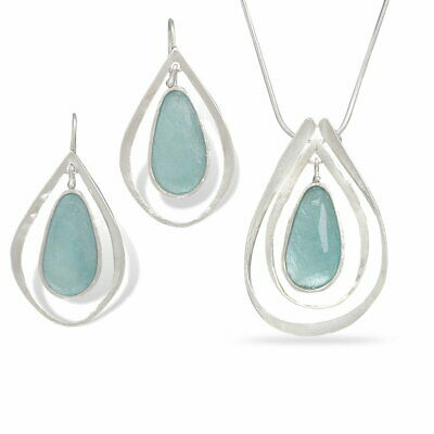 Ancient Roman Glass Earring and Necklace Set Teardrop Shape with Frame