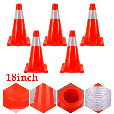 """5Pcs Road Traffic Cones 18"""" Parking Self Weighted Safety Cone Overlap Barrier"""
