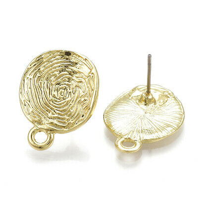 10 Alloy Round Earring Posts Bumpy Carved Hang Loop Lt. Gold Stud Findings 20mm