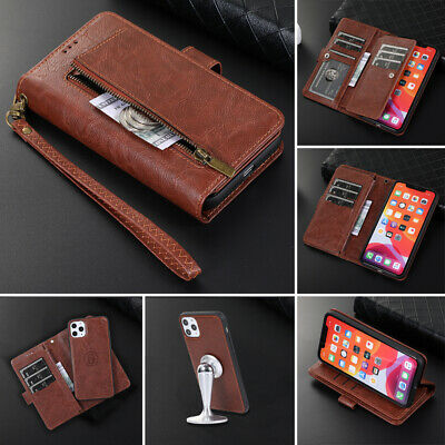 Removable Zip Coin Purse Card Slot Leather Flip Case for iPhone 11 8 Plus 7 6 XR
