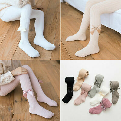 2Pairs Baby Girls Spanish Socks Tights Kids Plain Opaque TIGHTS BOWS 0-12Years
