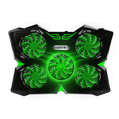 Green LED 5 Fan 12-17 Inch Macbook Dell HP Lenovo Acer Laptop Cooling Pad Cooler