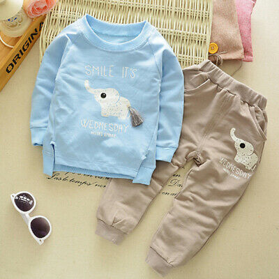 Baby girls boys long sleeve cartoon printed pullover t-shirt+pant clothing s IO