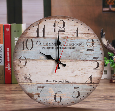 30cm Silent Wooden Round Wall Clock 12 Inch Vintage Rustic Shabby Chic StyleUK