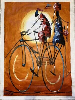 Authentic Vintage African Masai Large Canvas Painting Art Craft Fabric Print