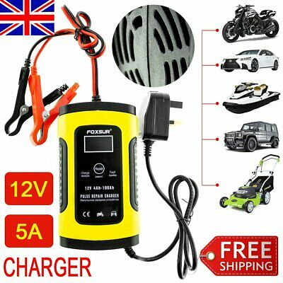 12V LCD Intelligent Car Battery Charger Automobile Motorcycle Pulse Repair F0M6O
