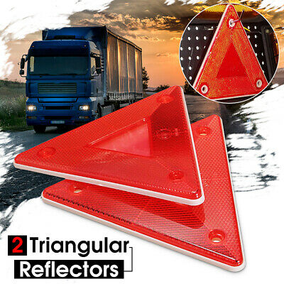 Pair Red Triangular Side Red Reflectors For Rear Triangle Truck Trailer