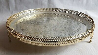 Beautiful Vintage Silver Plated Gallery Tray (Diameter - 34.5 cm)