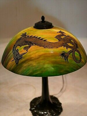 Antique Pittsburg PL&G Arrow Root Lamp w/ Ohio Dragon Shade Handel Era