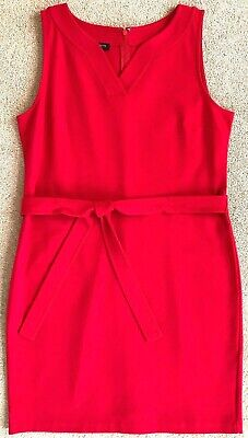 Talbots Petites Apple Red Ponte Belted Shift Dress Nwt! $109 12P