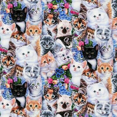 Kittens and flowers cat floral animal Premium 100% Cotton Fabric by the Yard