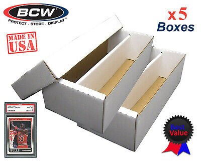 5 BCW Graded Card Shoe Storage Boxes 2 Row PSA Beckett Sport Topload / Certified