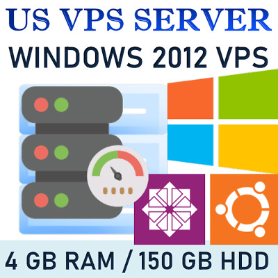 Usa Vps - Windows 2012 Rdp Server / Vps Server 4Gb Ram + 150 Gb Hdd