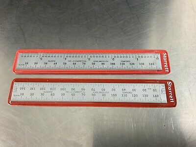 Two Starrett Chrome Satin Machinist Rules With Sleeves C636 & C635E