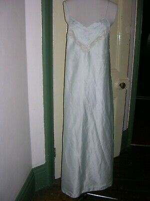 vintage marks and spencer nightie mint green   lace floral straps long small