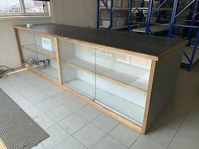 Shop counter glass display cabinet