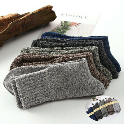 Solid Soft Sports Casual Men Warm New Cashmere Winter Thick Wool Socks 5 Pairs