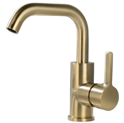 New Brushed Gold Bathroom Kitchen Faucets Single Hole Sink Basin Mixer Brass Tap